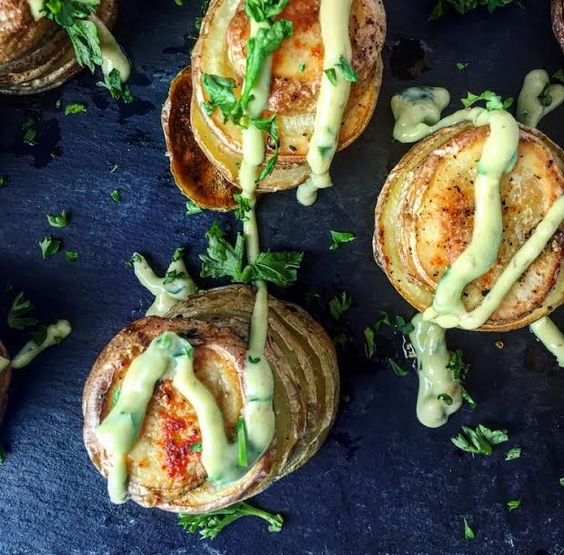 Potato Stacks with Avocado Sauce Recipe - Mince Republic