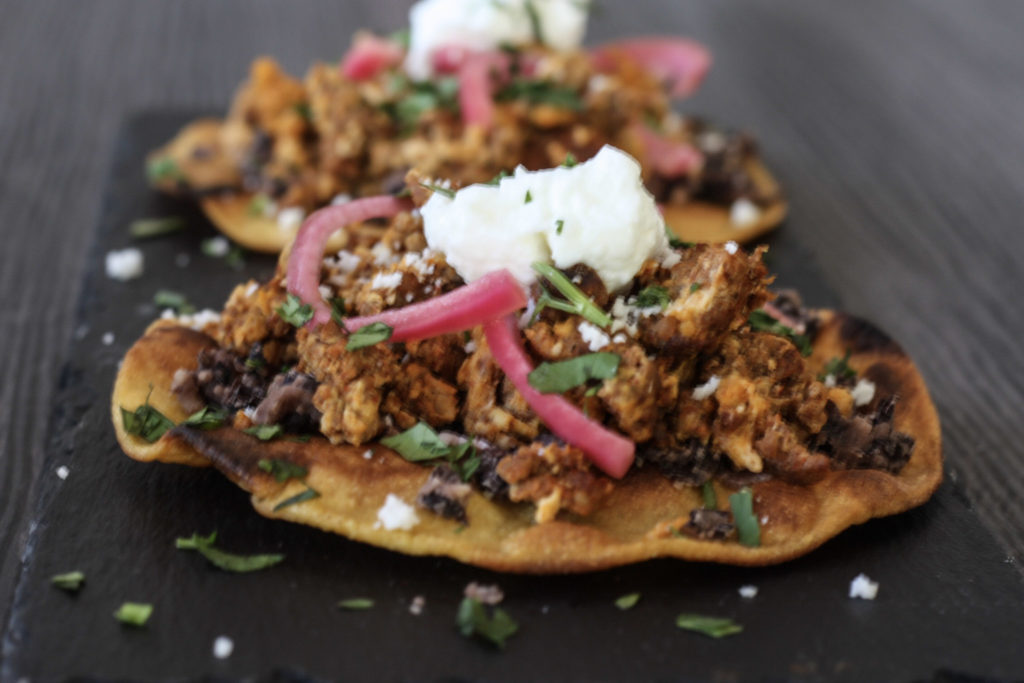 Chorizo and Egg Breakfast Tostada recipe from Mince Republic