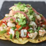 Shrimp Ceviche Tostadas with Creamy Guacamole recipe from Mince Republic