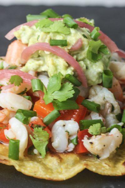Shrimp Ceviche Tostadas with Creamy Guacamole recipe from Mince Republic