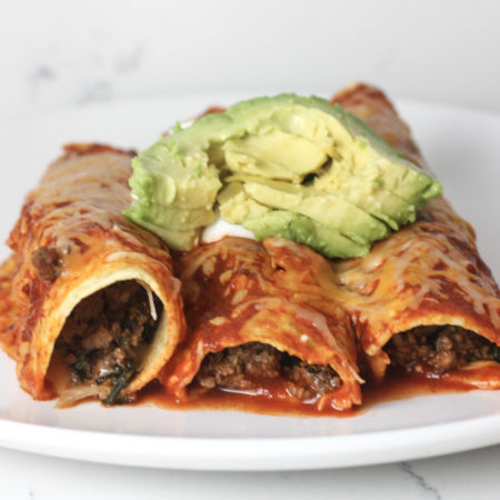Beef & Vegetable Enchiladas recipe | Healthy enchiladas made with vegetables and ground beef | mincerepublic.com