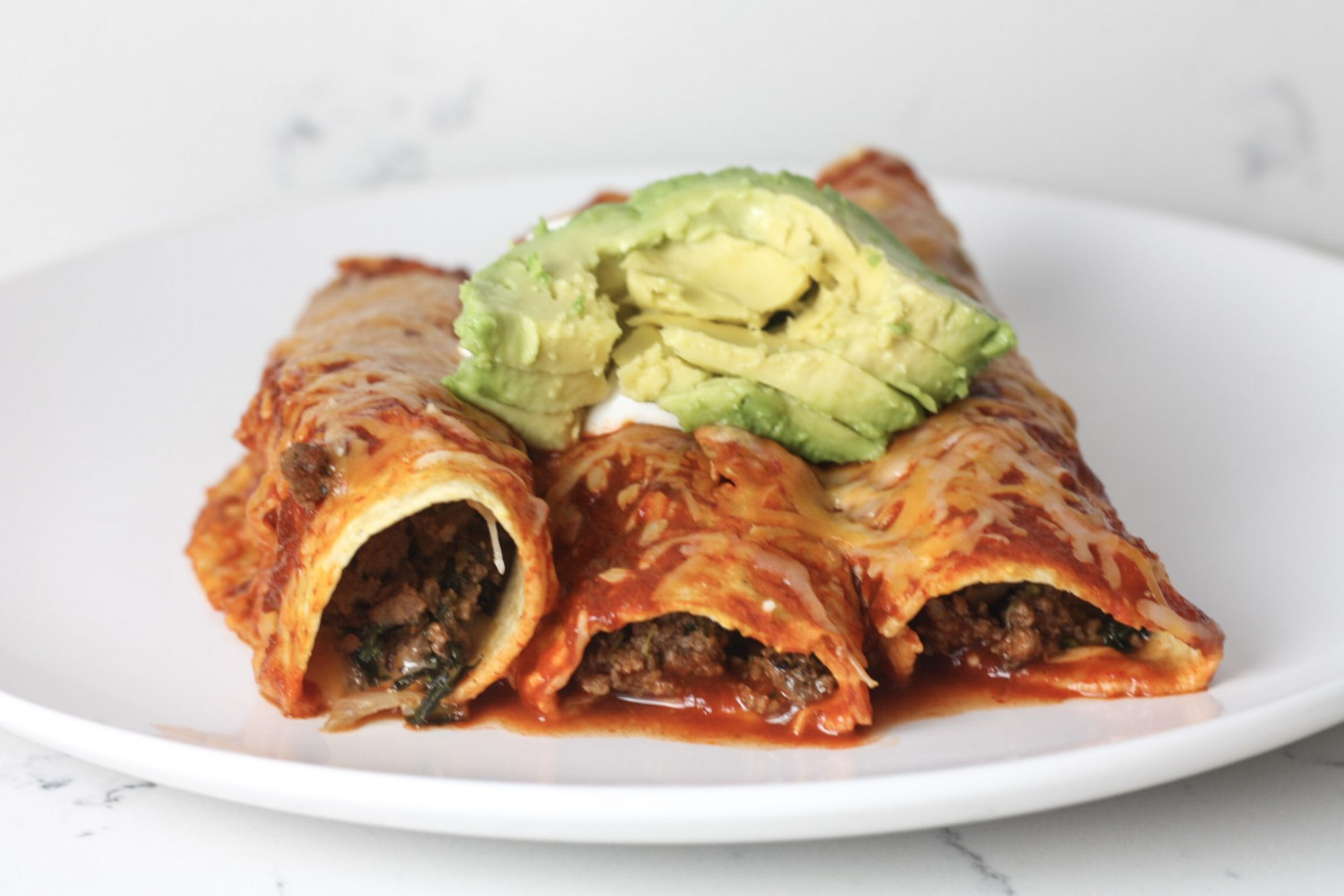 Beef & Vegetable Enchiladas recipe | Healthy enchiladas made with vegetables and ground beef | mincerepublic.com