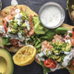Salmon Naan With Avocado Gremolata and Dill Yogurt Sauce