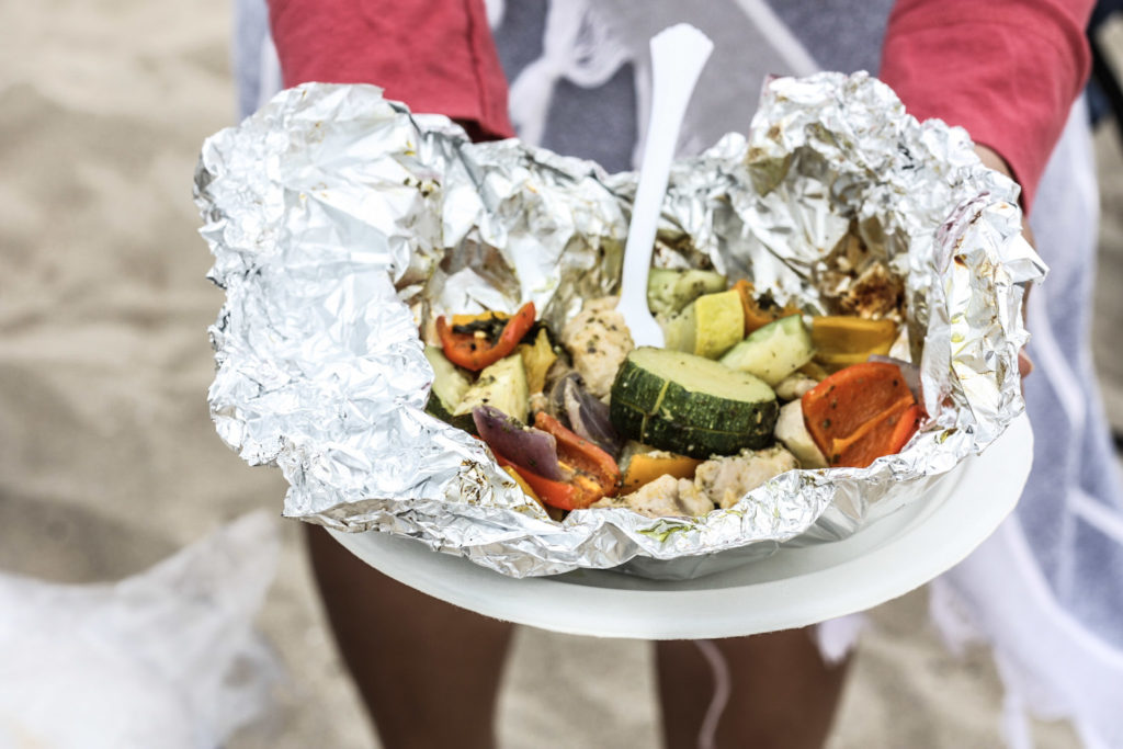 Chicken & Veggie Foil Packets with Pesto recipe   chicken, vegetables and basil pesto in a foil packet — the easiest Summer weeknight meal!   mincerepublic.com