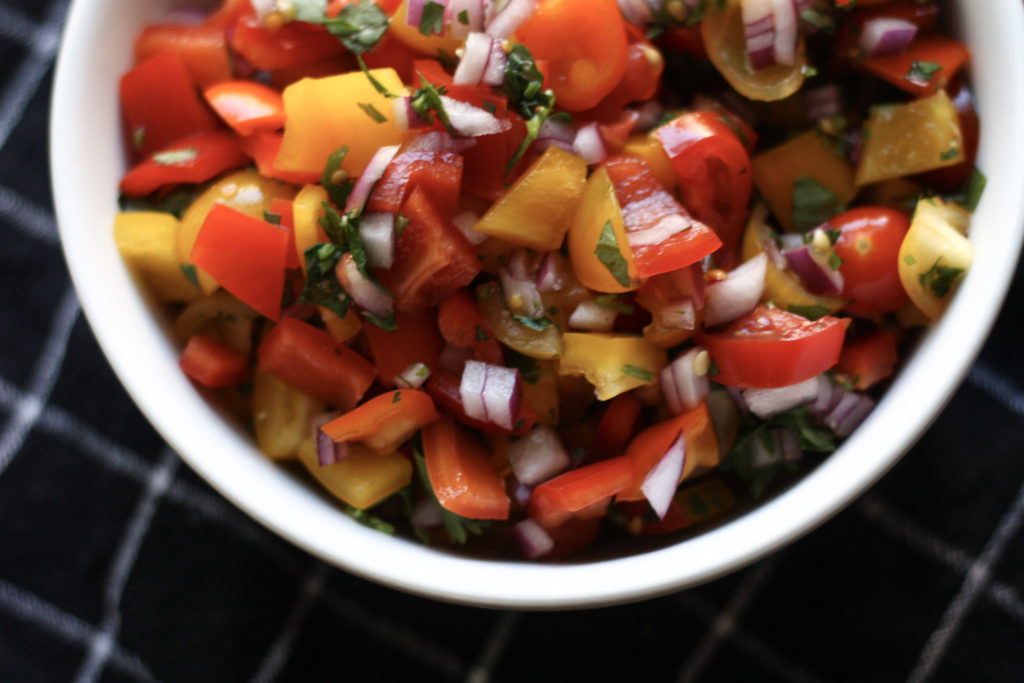 Bell Pepper Pico de Gallo recipe | Great with chips or on your favorite protein! | mincerepublic.com