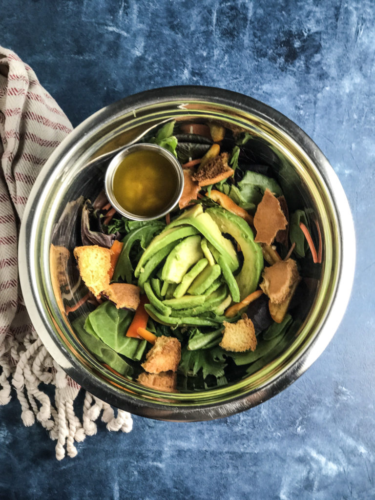 Easy Garden Salad with Garlic Brioche Croutons & Lemon Vinaigrette | The perfect addition to any meal | mincerepublic.com