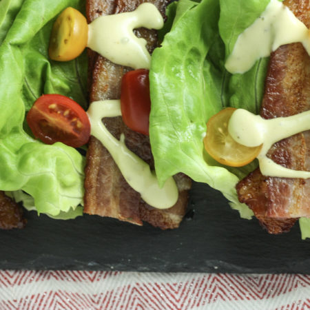 Breadless BLT with Avocado Mayonnaise recipe | The best treadless Bacon Lettuce Tomato sandwich topped with creamy Avocado Mayo! | Keto Low Carb Paleo | mincerepublic.com
