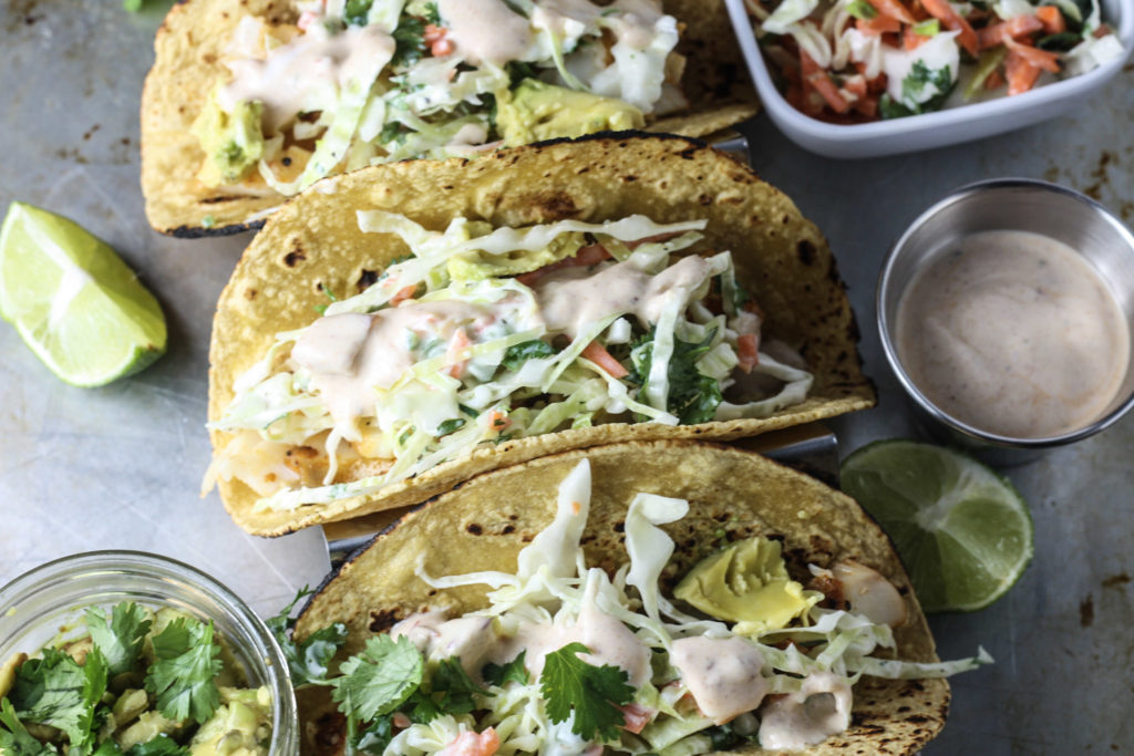 Fish tacos with slaw and chipotle white sauce mince republic for Recipe for fish taco sauce