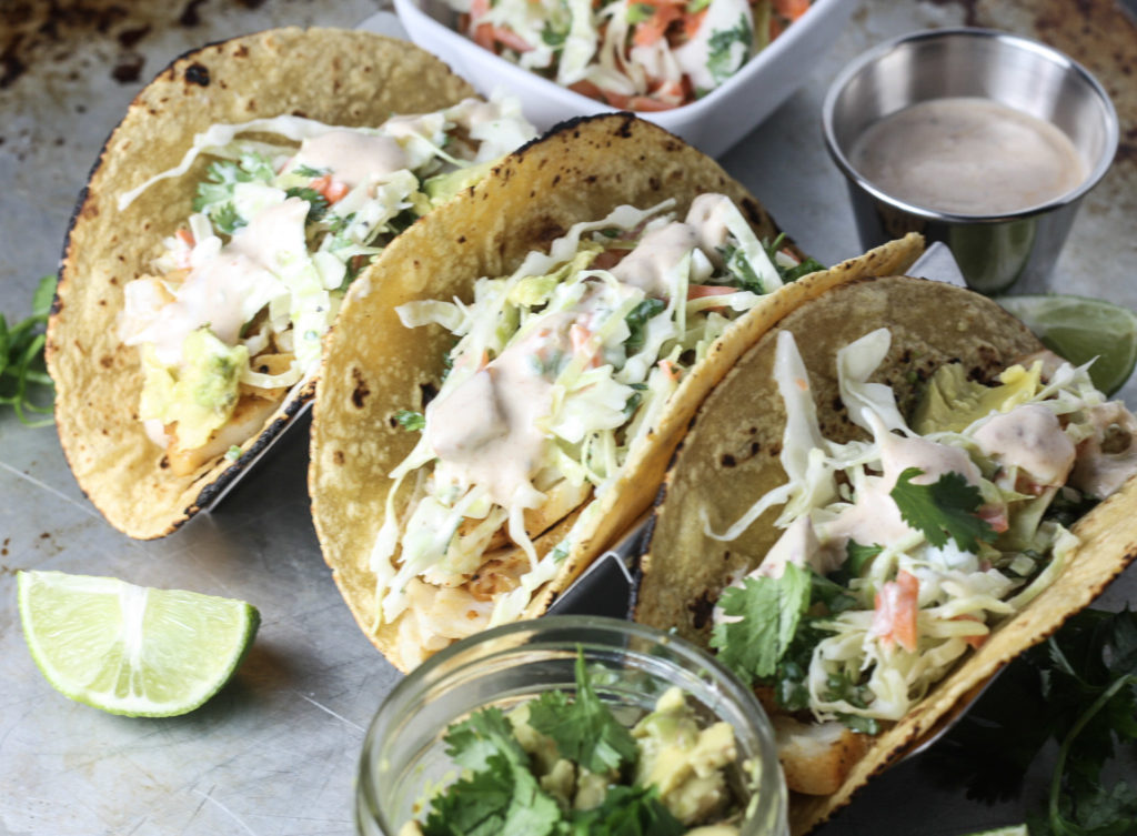 fish tacos with slaw and chipotle white sauce mince republic