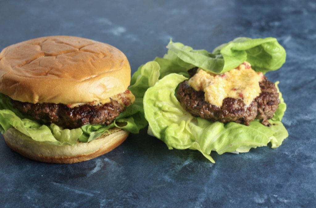Pimento Cheese Burgers recipe   Really flavorful burger recipe with a keto / paleo / low carb option   mincerepublic.com