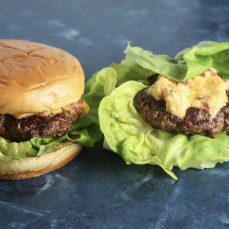 Pimento Cheese Burgers recipe | Really flavorful burger recipe with a keto / paleo / low carb option | mincerepublic.com