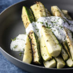 Grilled Zucchini with Yogurt Herb Sauce