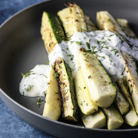 Grilled Zucchini with Yogurt Herb Sauce recipe | Great summer side dish, easy summer weeknight meal | #summerrecipes #zucchinirecipes #grilling | mincerepublic.com