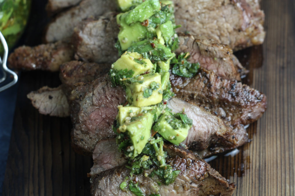 Grilled Tri-tip with Avocado Chimichurri | Tender trip-tip with a flavorful Avocado Chimichurri | mincerepublic.com