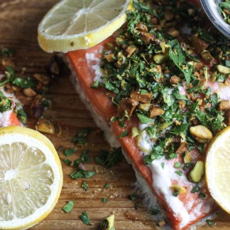 Cedar Plank Salmon with Pistachio Gremolata | mincerepublic.com