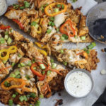 Buffalo Chicken Pizza on Pork Rind Crust
