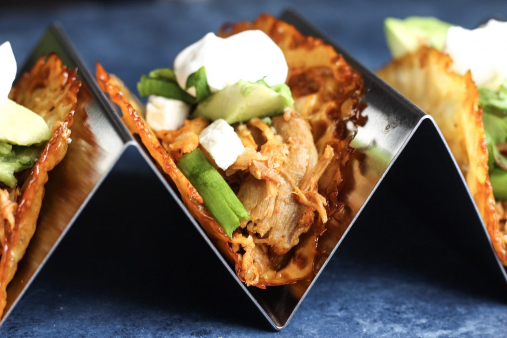 Buffalo Chicken Tacos in a Cheese Taco Shell recipe   Low carb Taco Tuesday just got tastier!   #keto #lowcarb   mincerepublic.com