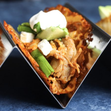 Buffalo Chicken Tacos in a Cheese Taco Shell recipe | Low carb Taco Tuesday just got tastier! | #keto #lowcarb | mincerepublic.com