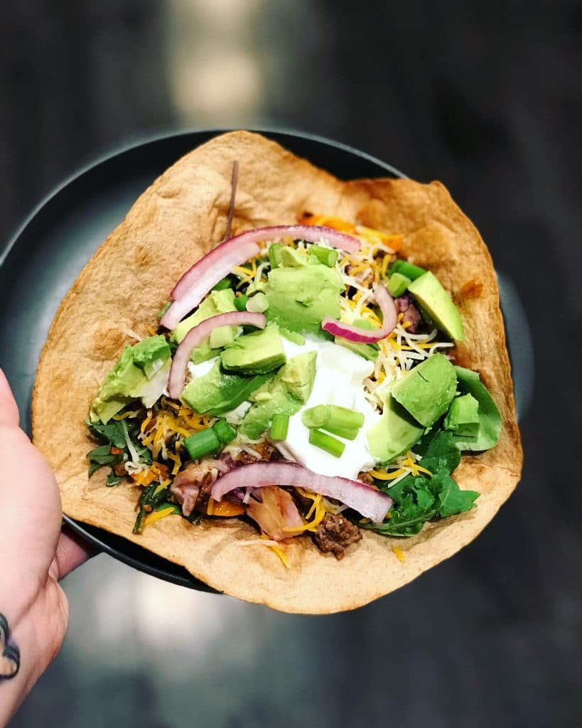 The Best Taco Salad recipe, made with seasoned ground beef, low carb baked tortilla shell and whatever toppings you like! | #lowcarb #keto | mincerepublic.com