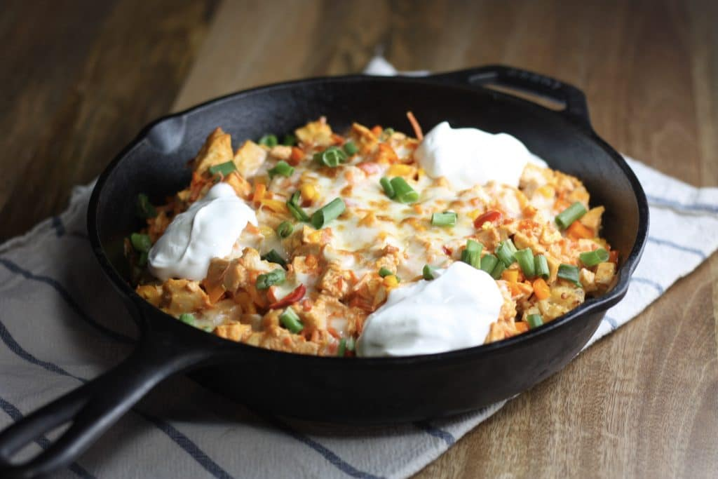 Buffalo Chicken Totchos Recipe   Made with Cauliflower tots or regular!   mincerepublic.com