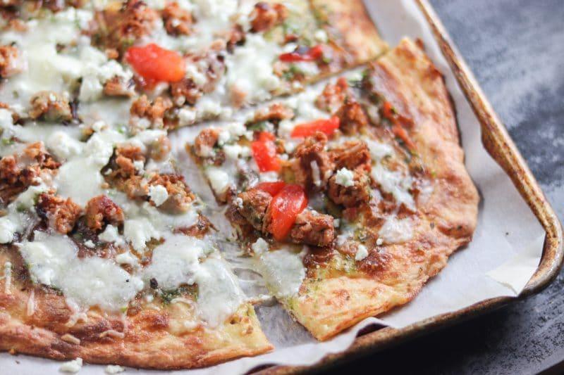 Sausage & Pesto Pizza on Low Carb Pizza Crust Recipe   #lowcarb #keto   mincerepublic.com