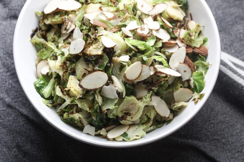 Brussels sprouts with Slivered Almonds Recipe | Healthy #lowcarb #keto #paleo side dish | mincerepublic.com