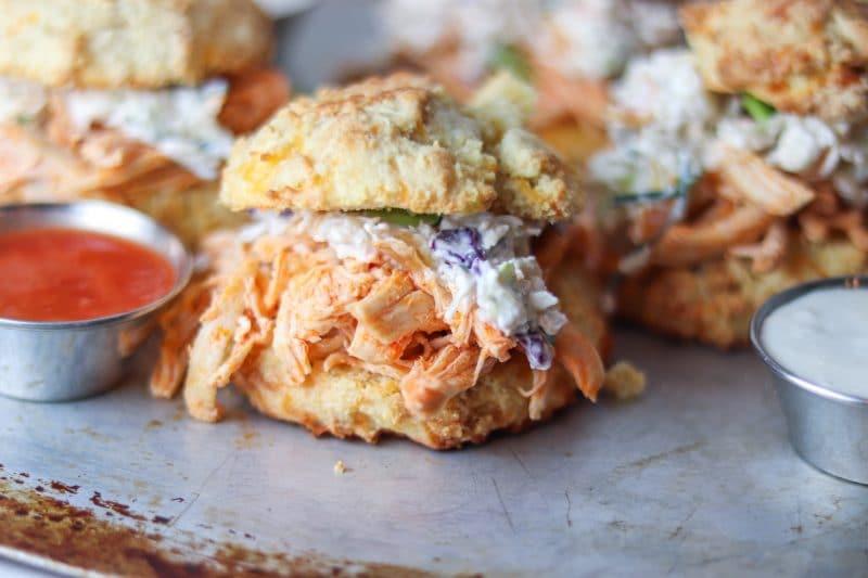 Buffalo Chicken Biscuit Sandwiches with Slaw Recipe   #keto #lowcarb buffalo chicken sandwich recipe   mincerepublic.com