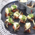 Sausage, Cheese and Caramelized Onion Bites with Chimichurri