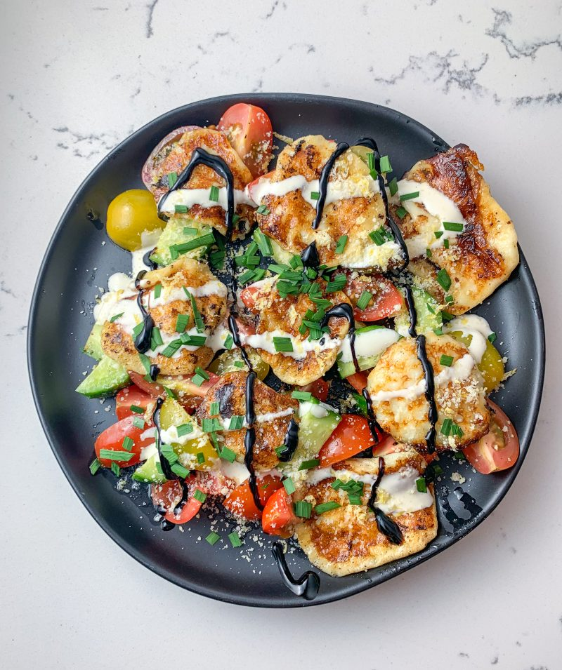 Fried Cheese and Tomato Salad Recipe | #keto #lowcarb #glutenfree | mincerepublic.com