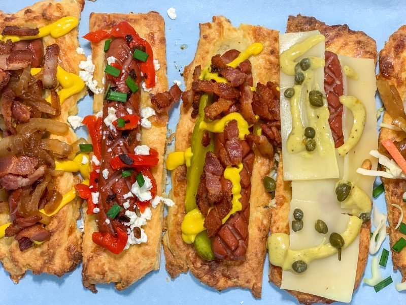 Keto Hot Dogs in Fathead Dough recipe | mincerepublic.com