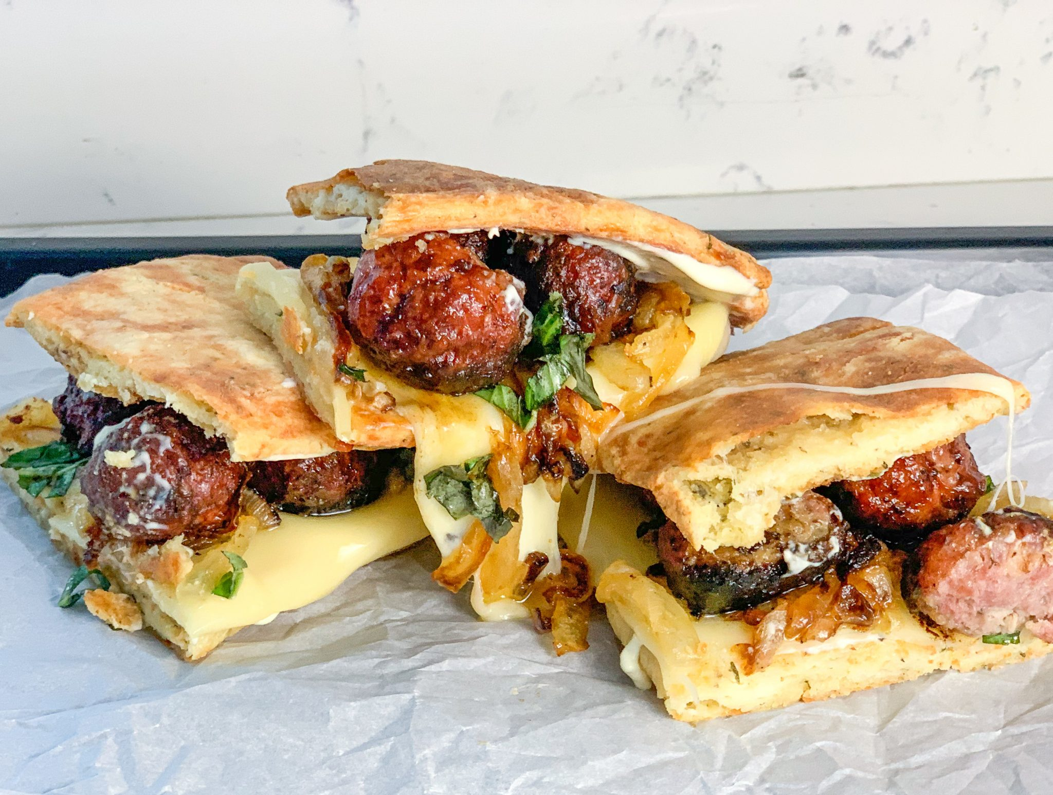 Meatball Sub Sandwich on Low Carb Bread photo from mincerepublic.com