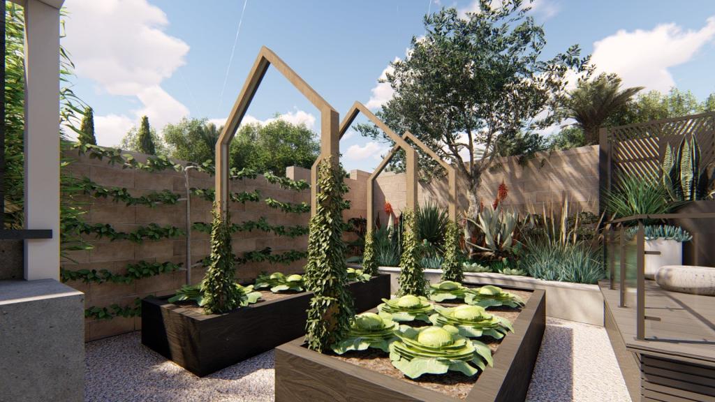 black raised vegetable garden beds with trellis