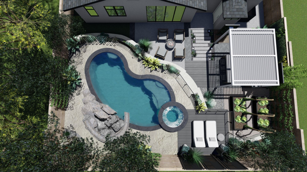 aerial birds eye view of a backyard rendering with pool outdoor kitchen garden beds