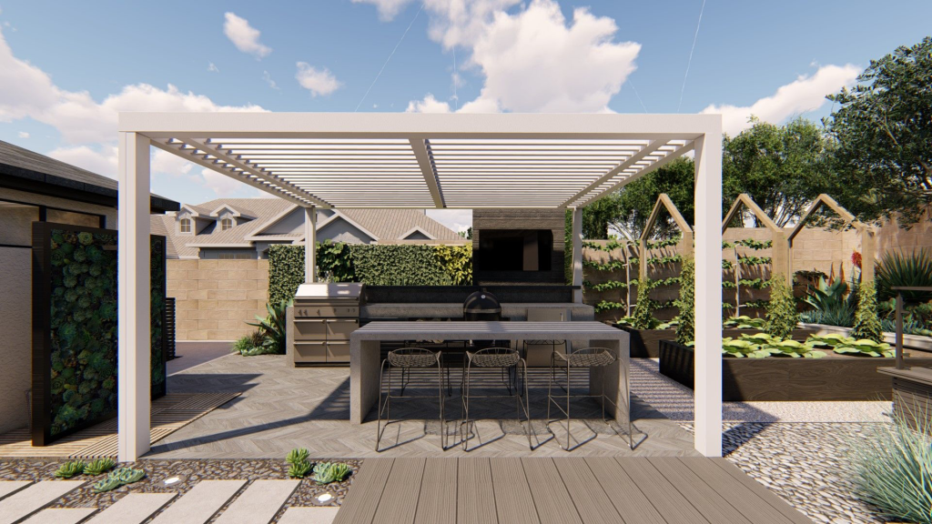 outdoor kitchen with tv, grill and dining table