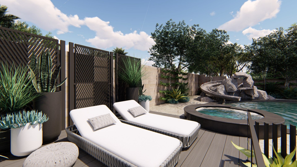 tanning deck with white chairs and succulents near pool