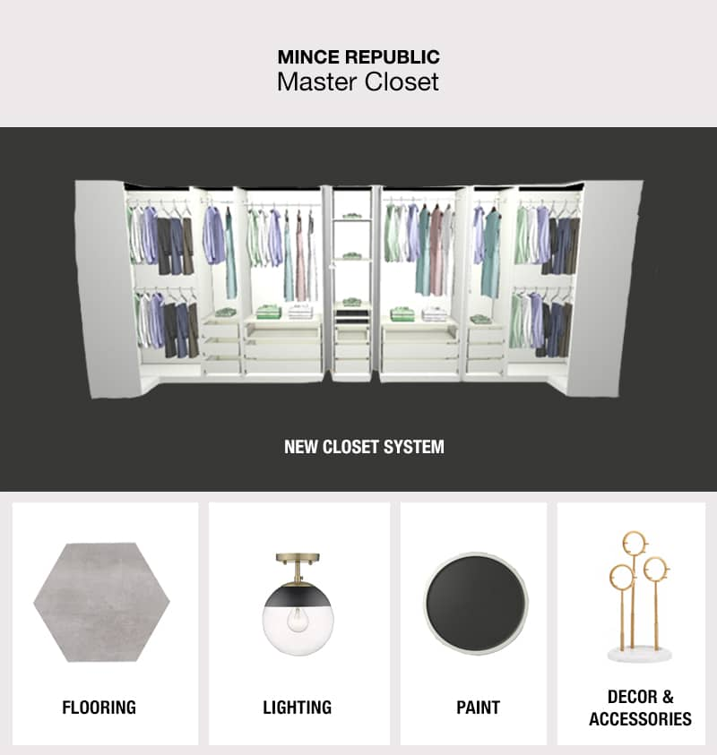 master bedroom closet mood board with a new design mock up