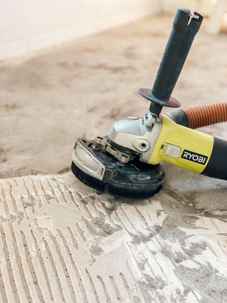 grinding down tile mortar