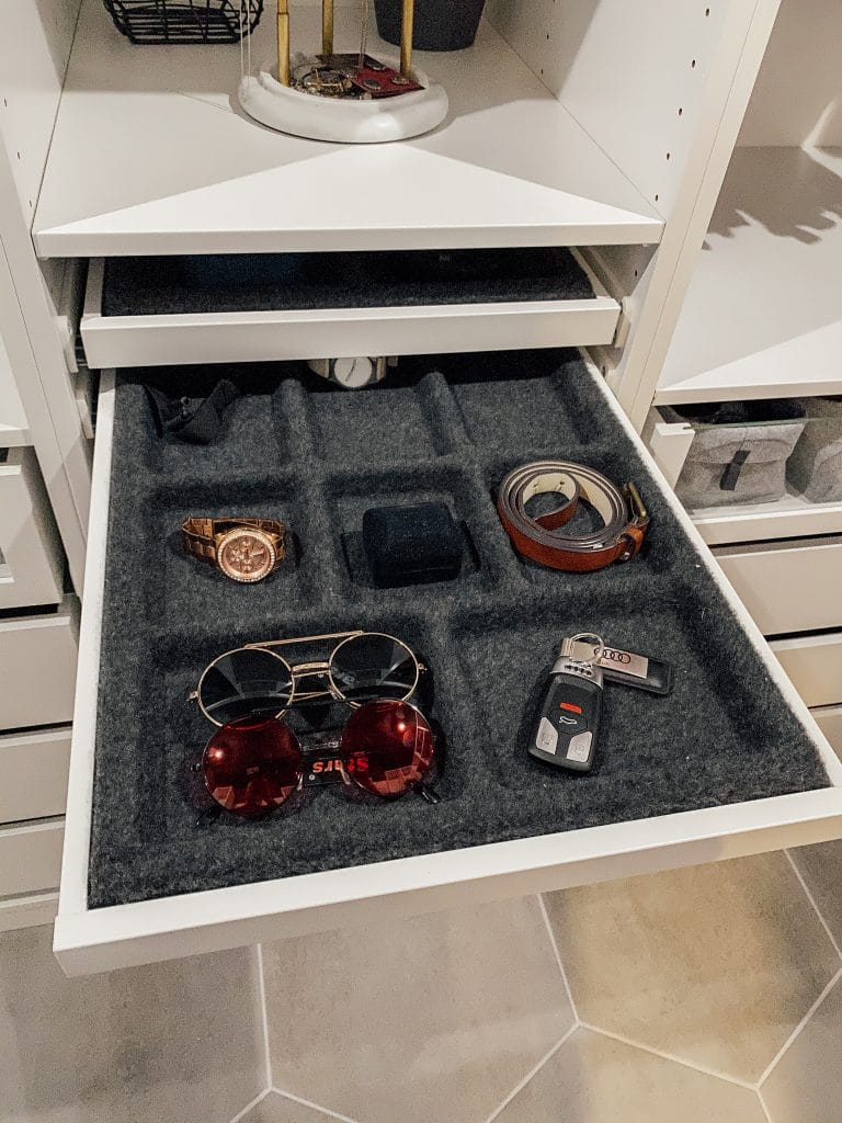 drawer organizer for watch, sunglasses, keys