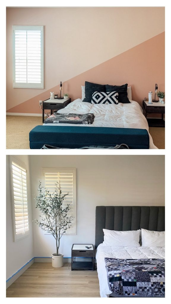 before and after picture of bedroom painted