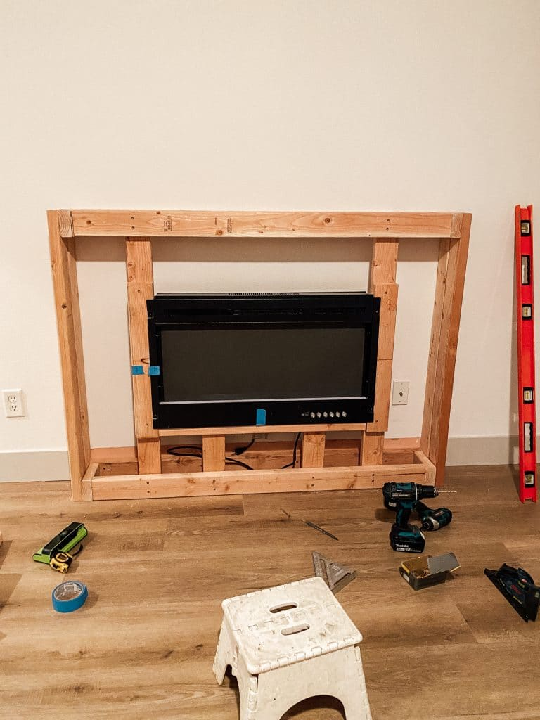 electric fireplace frame build