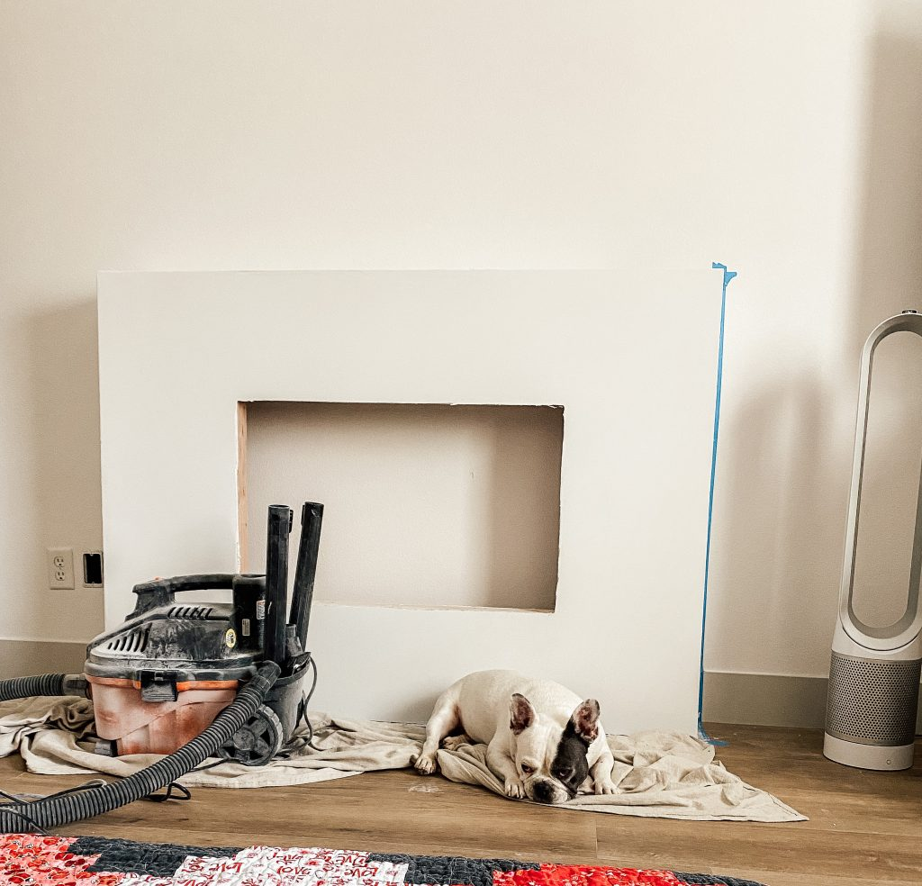 owners suite makeover with electric fireplace and dog in front of it