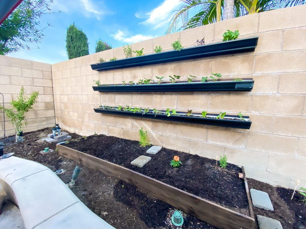 rain gutters hung vertically on exterior block wall to create a garden
